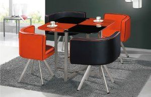 Black And Red Space Saver Dining Table And Leather Chairs Space Saver Dining Table Black Glass Dining Table Table