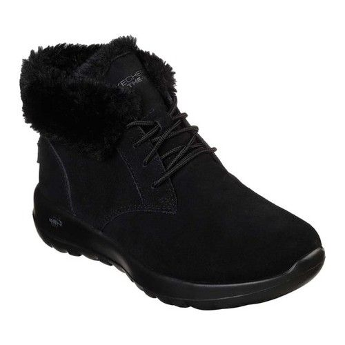Women's Skechers On The GO Joy Lush Ankle Boot Black Boots
