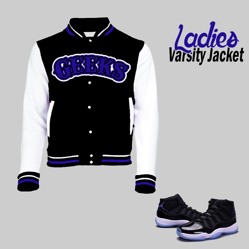 e409a74b5003fa ... GEEKS Womens Fleece Varsity Jacket to match the Jordan 11 Space Jam ...