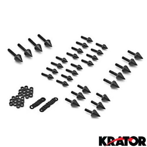 Krator® Motorcycle Spike Fairing Bolts Black Spiked Kit