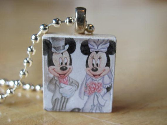 Mickey and Minnie Mouse Wedding Scrabble Tile by ScrabblesByBen