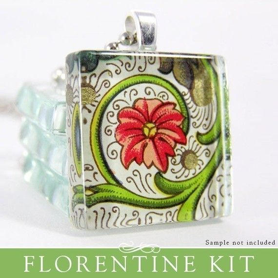 make your own florentine paper glass pendant kit.  Must try this!