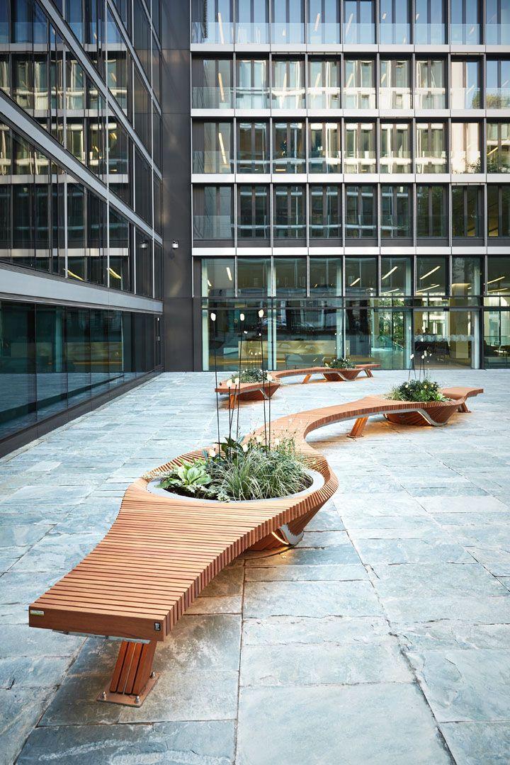 Mobilier Urbain Design Banc Bench Vegetal Bois Wood Tricoire Metal Mobilier Urbain Outdoor St Design Plaza Meubles Urbains Architecture