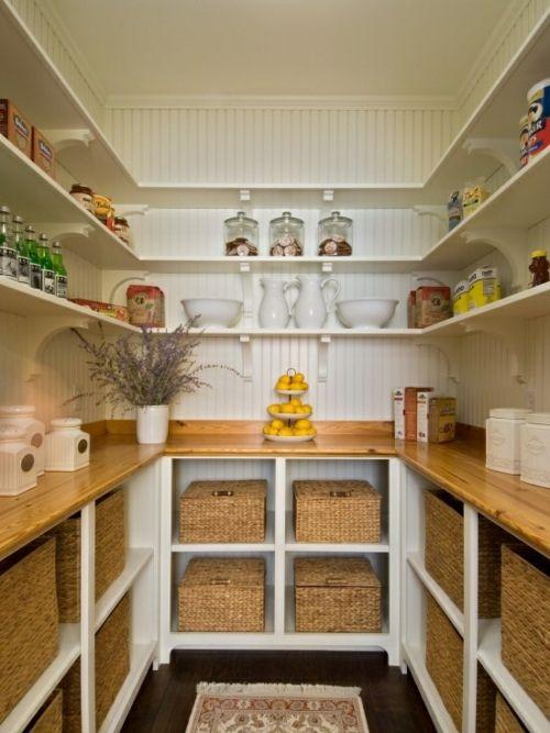 Speisekammer anordnen korb holz arbeitsplatten küche Treppe - küche aus holz