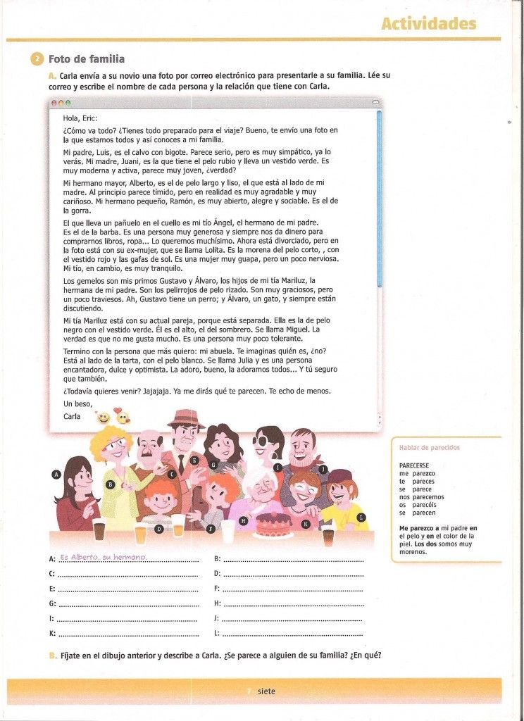 texto-actividad la familia- reading activity family description ...