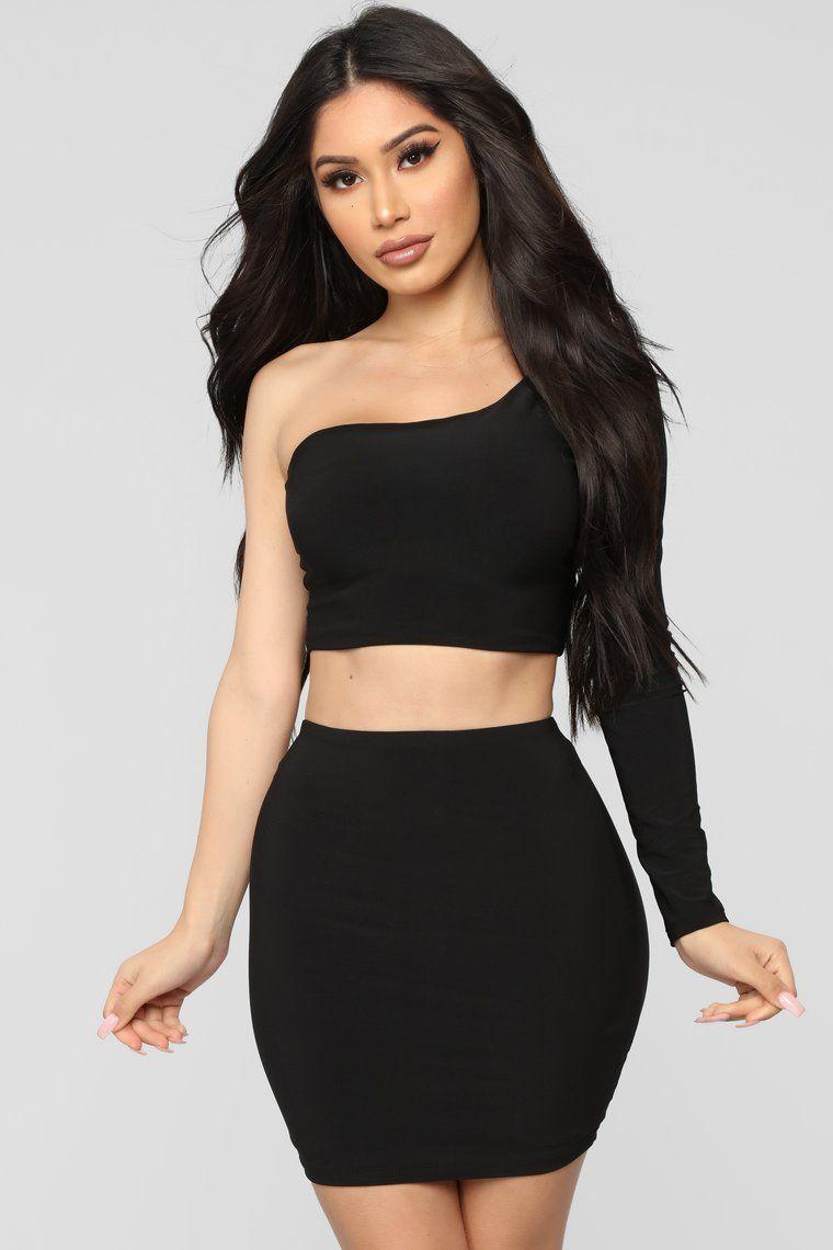 Heading Out Slinky Set Black Mini dress with sleeves