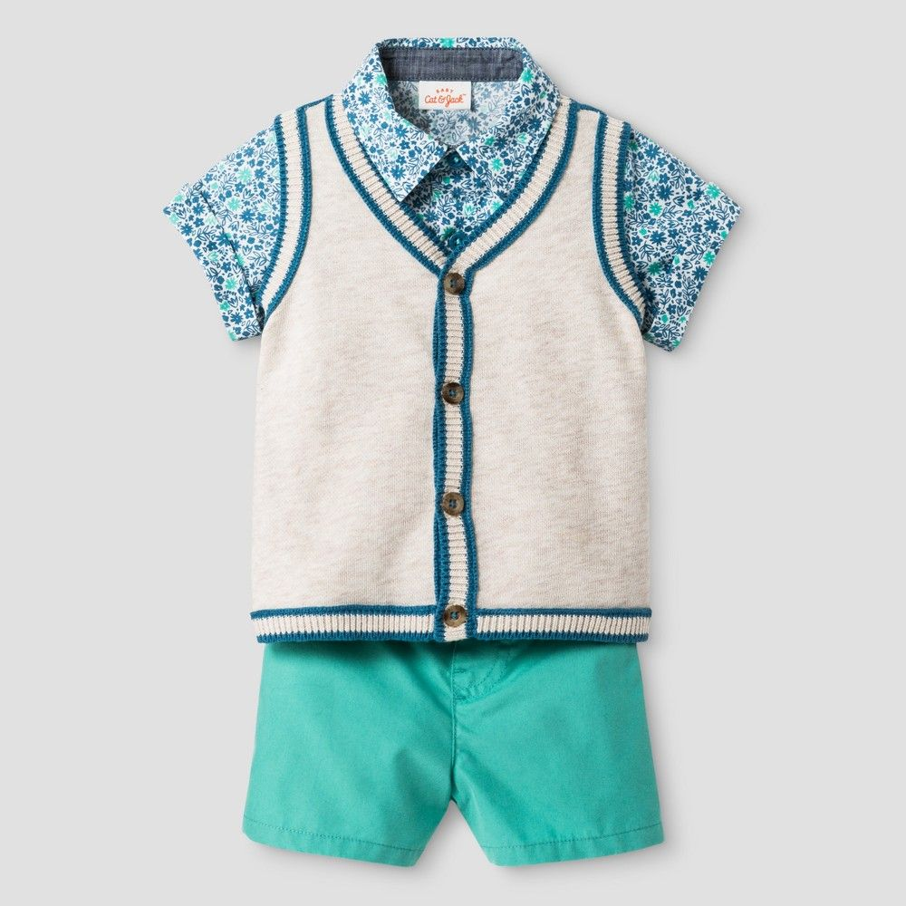 Baby Boys' Short Sleeve Woven Shirt and Sweater Vest with Woven ...