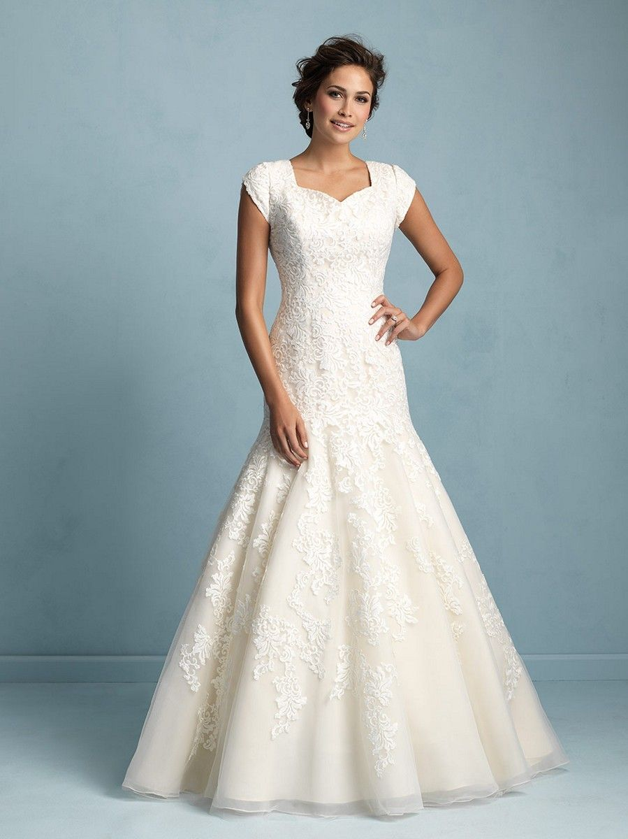 Modest Wedding Dresses Queen Anne Neckline