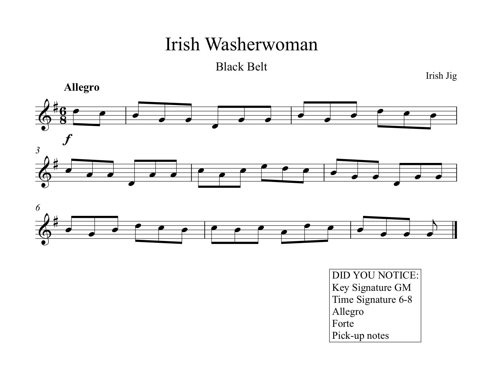 Irish Jig Worksheet