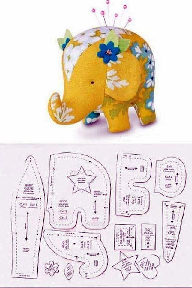 5 Free Patterns + 1 tutorial ( Plush Elephant) ..... #stuffedtoyspatterns