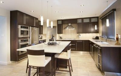 Dark Cabinets Light Counter Tile Floor In 2019 Kitchen