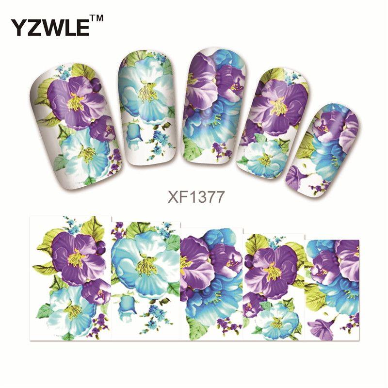 YZWLE Púrpura Flor Diseños de Uñas Marca de agua Calcomanías de Uñas ...