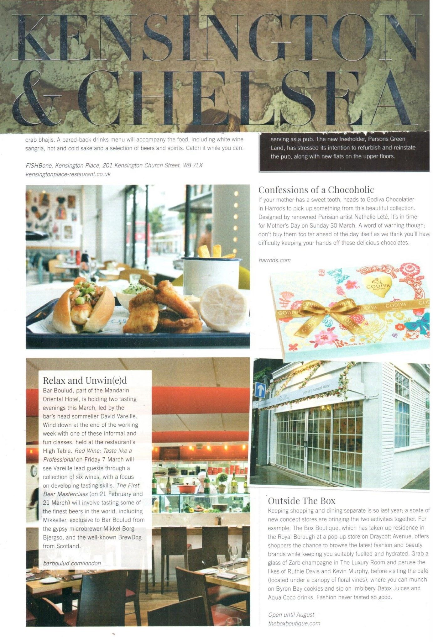 The Box Boutique in Kensington and Chelsea Magazine