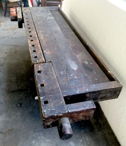 Best Early 1900S Vintage Industrial Cabinet Makers Workbench 640 x 480