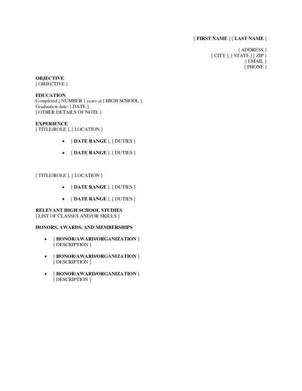 Highschool Examples Students Resume Forresume Examples For