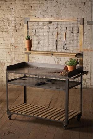 Metal And Wood Potting Station