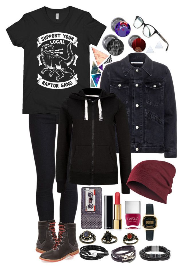 """""""Gail"""" by anna-fozo ❤ liked on Polyvore featuring VILA, Oliver Peoples, AG Adriano Goldschmied, Ahnu, Chanel, Nails Inc., Casio, Bling Jewelry, Salvatore Ferragamo and Swarovski"""