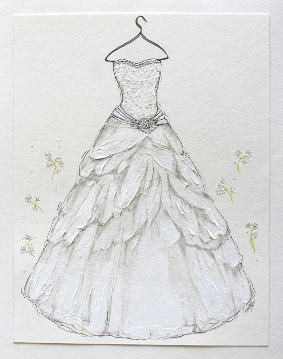 Custom hand drawn wedding dress illustration by Wedding dress illustration
