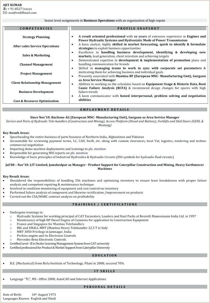 Sales Resume Samples India