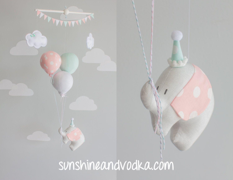 Elephant and balloon baby mobile, travel theme nursery décor, Mint ...