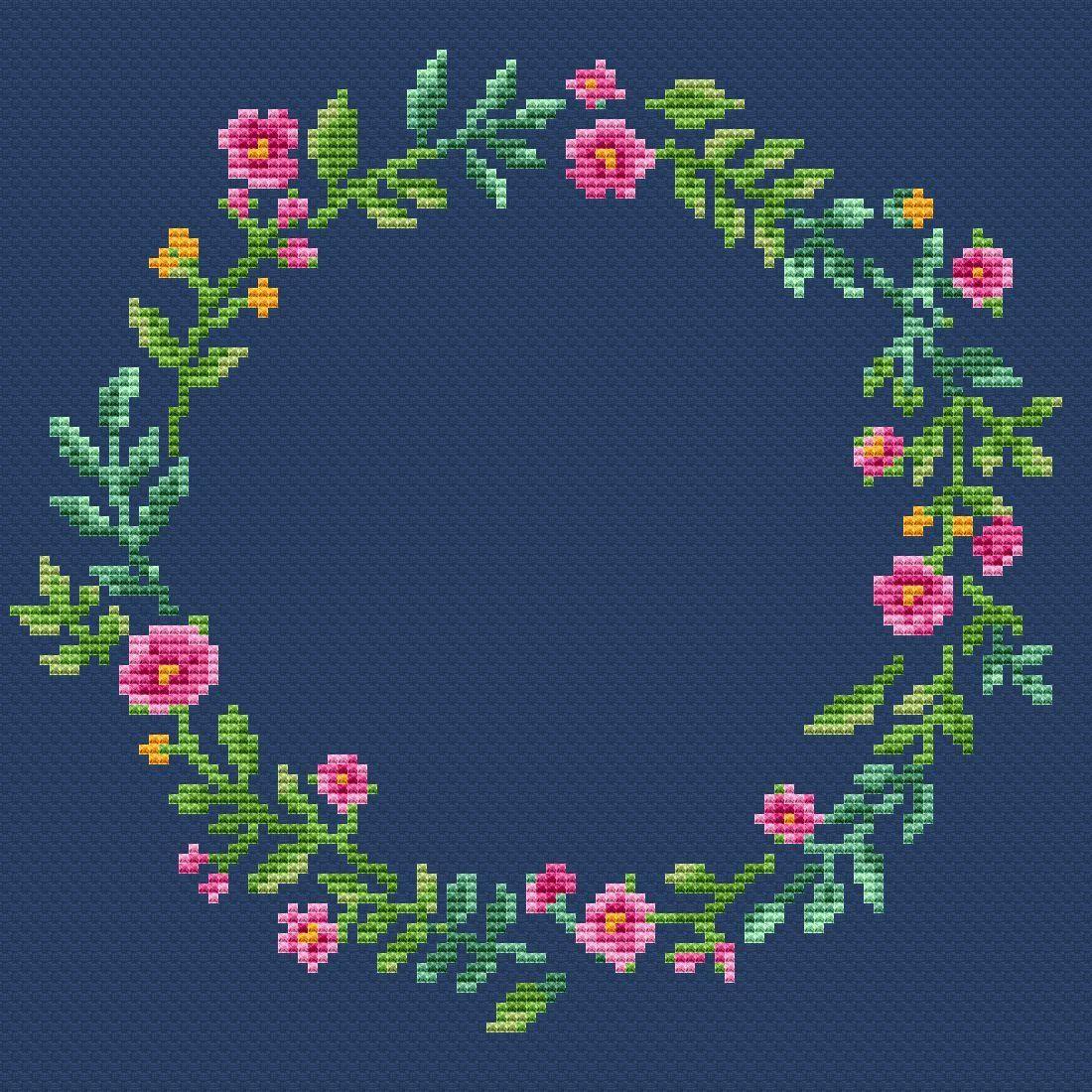 Floral border cross stitch pattern PDF/ Round flower