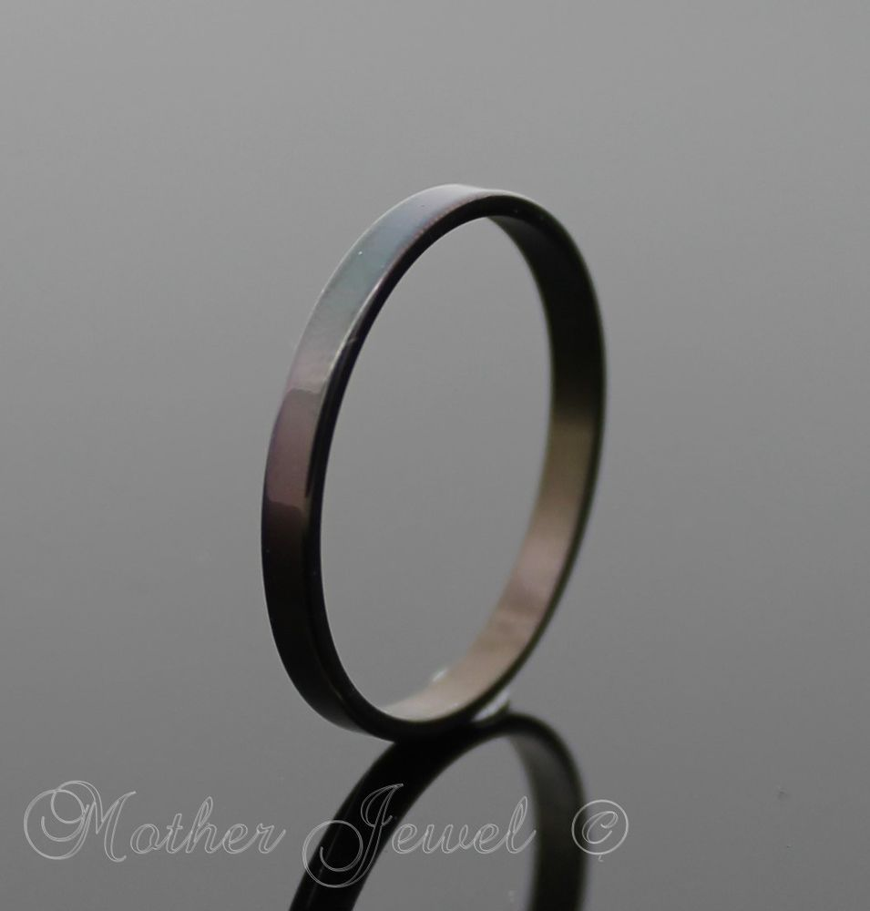 stainless steel wedding band Black stainless steel ladies mens boys 2mm thin wedding anniversary band ring
