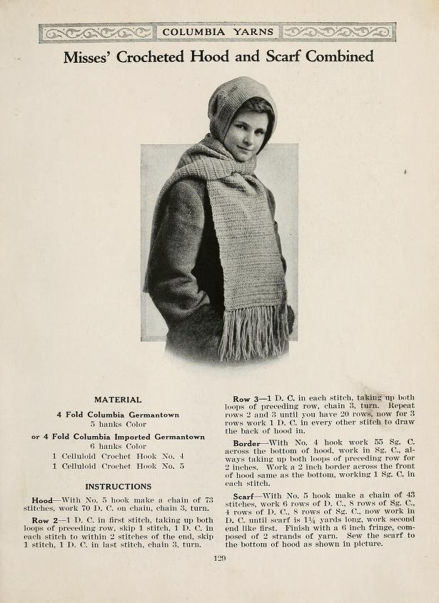 Free Vintage Crochet Hooded Scarf Pattern Columbia Book of Yarn ...