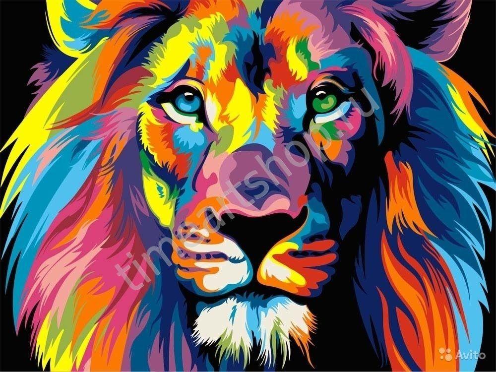 Радужный лев, картины раскраски по номерам, размер 40*50см ...