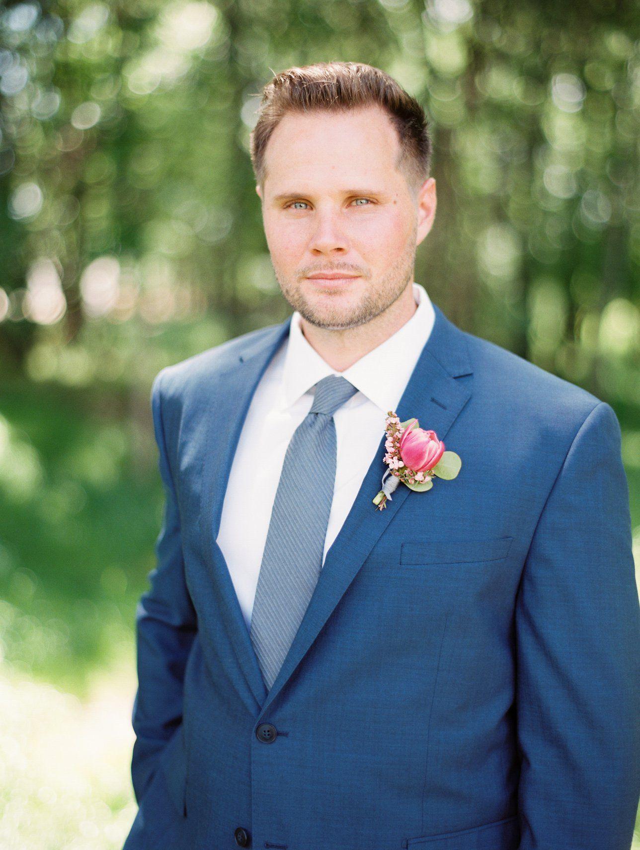 Groom style, groom menswear, groomsmen suit, groom blue suit and tie ...