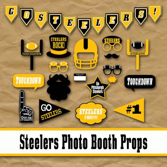Steelers football photo booth props and party decorations steelers football photo booth props and party decorations printable over 35 images in pdf format instant download filmwisefo Gallery