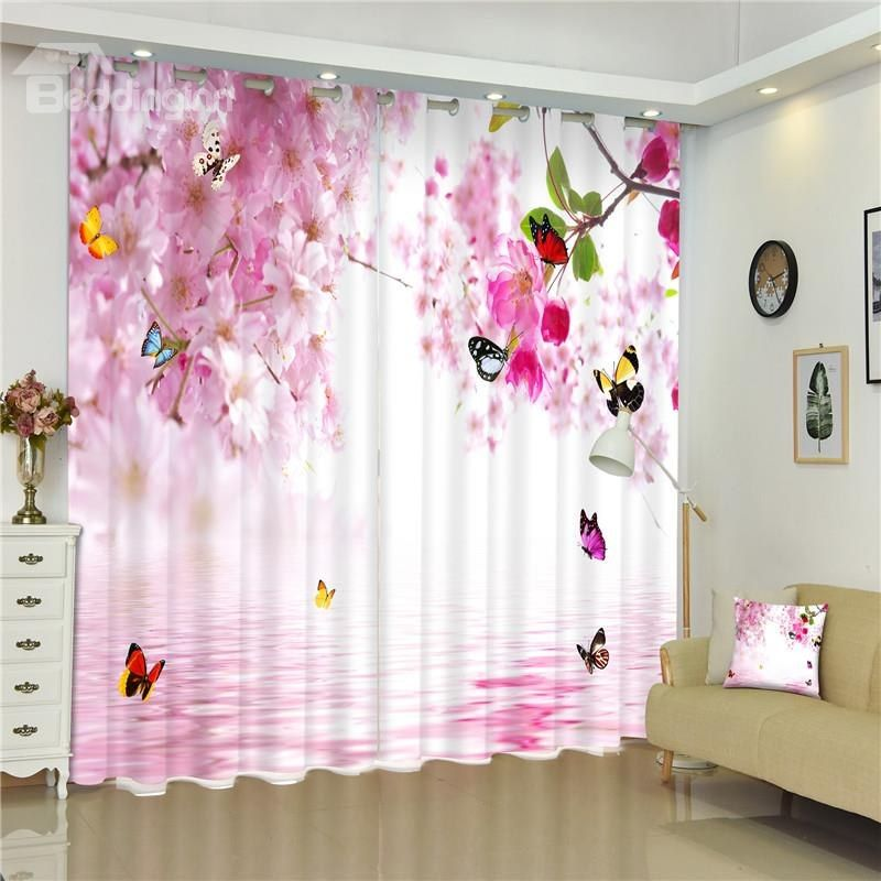 Flying Butterflies And Pink Peach Flowers Sweet Style Living Room And Bed Room 3d Curtain Kid Room Decor Curtains Curtain Decor #peach #living #room #curtains