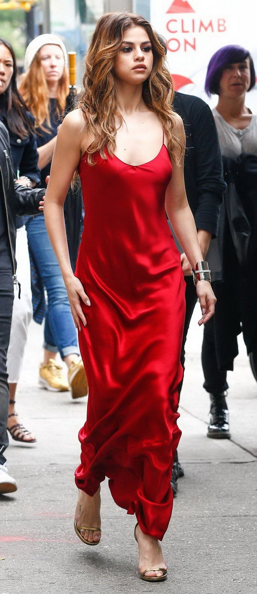 61db295c72a Lady In Red ~ Selena Gomez  reddress Selena was seen out and about in New