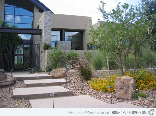 17 Parched Desert Landscaping Ideas Modern Landscaping Modern Front Yard Modern Landscape Design