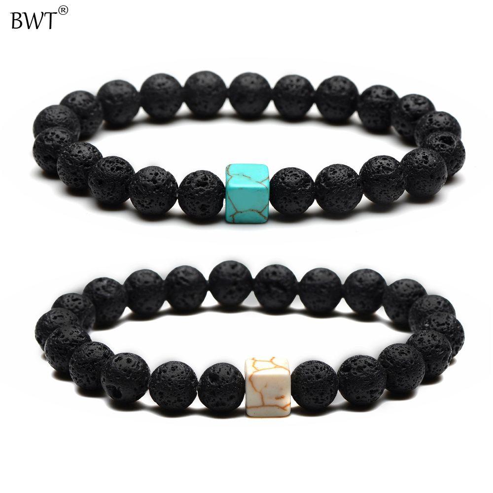 BWT New Fashion 8MM Natural Stones Lava Bracelets In Charm Square Blue & White Beads Lovers Bracelets For Men Women Gifts SL050