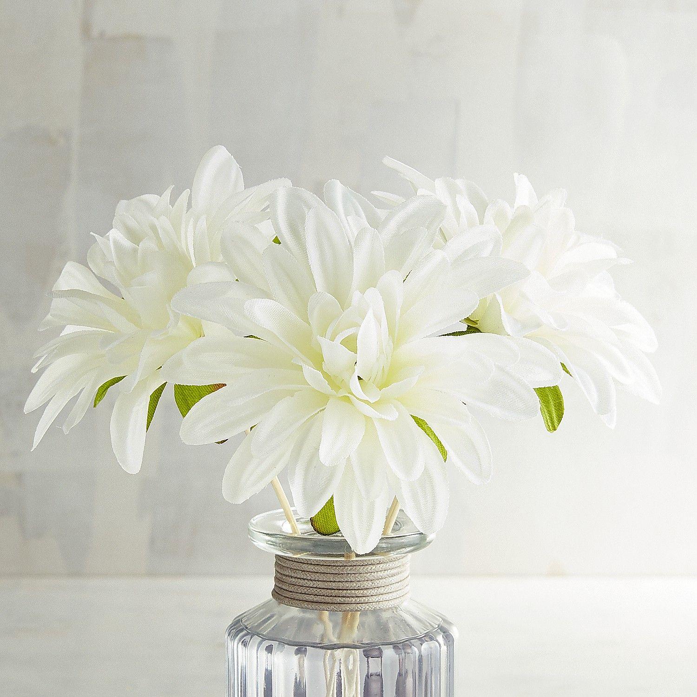 Faux White Dahlia Decorative Reeds