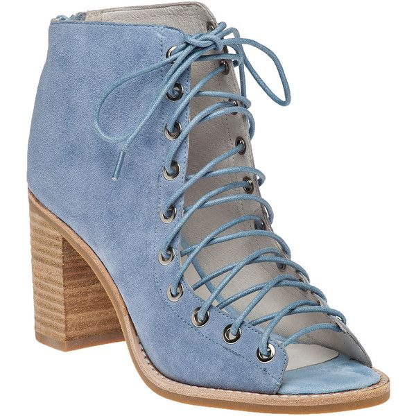 2f47d8c4040 JEFFREY CAMPBELL Cors Light Blue Suede Lace-Up Bootie ($116) ❤ liked on Polyvore  featuring shoes, boots, ankle booties, heels, ankle boots, blue suede, ...