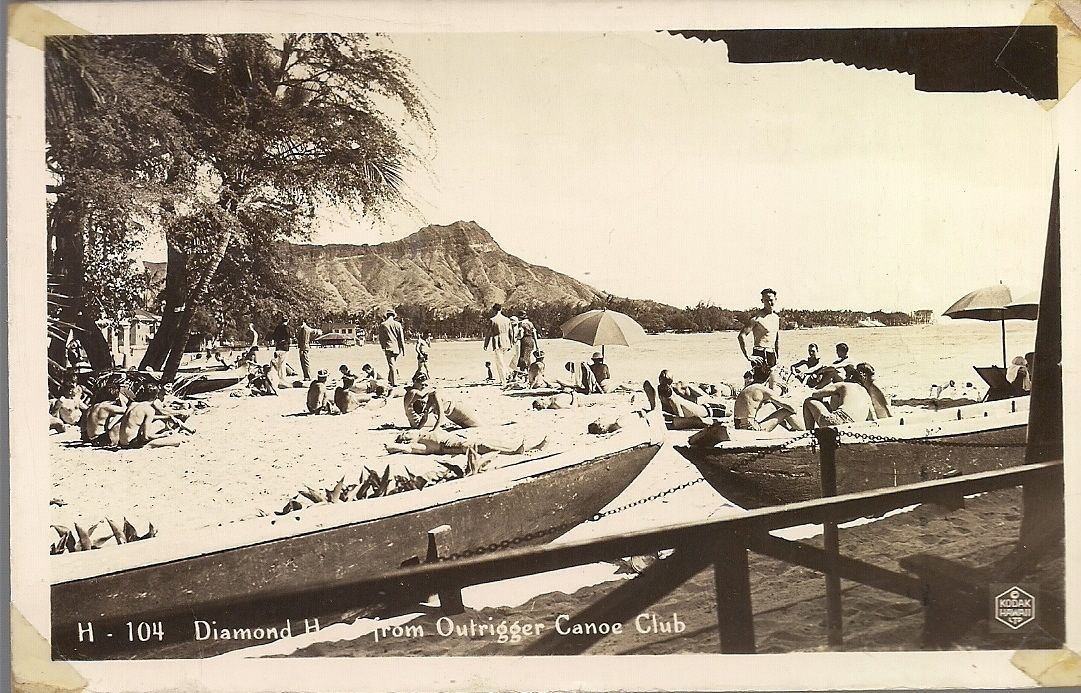 Vintage Hawaii Postcard 1941 DIAMOND HEAD FROM OUTRIGGER