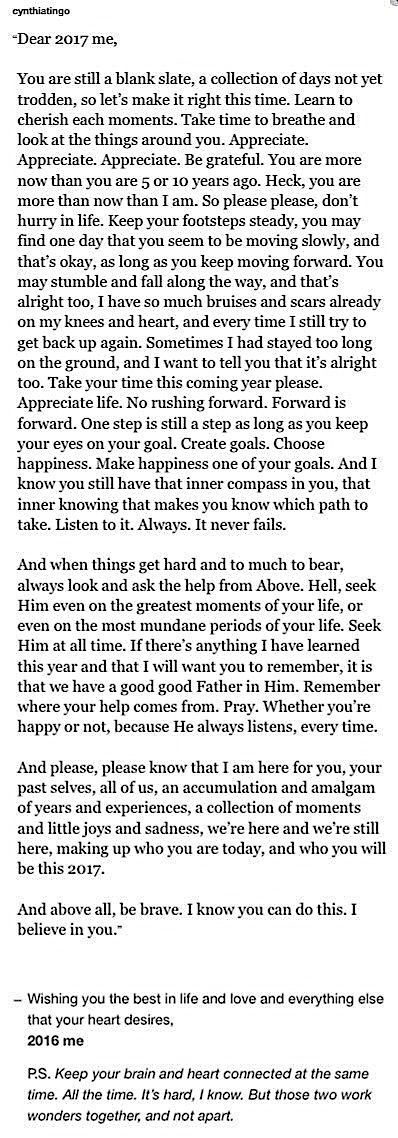 pinterest: cynthia_go | cynthia go, quotes, 2017, 2016, new year quotes, 2017 quotes, letter for my fute self, letters to myself, longreads, excerpt from a book i'll never write, life quotes, advice, cynthia go quotes, tumblr quotes, dear 2017