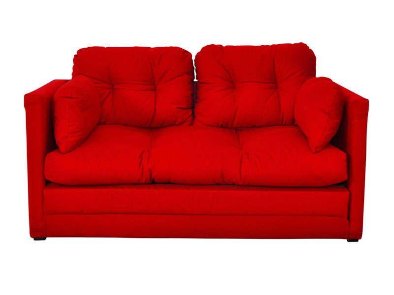 Canape Convertible 2 Places Pillo Coloris Rouge Pas Cher C Est