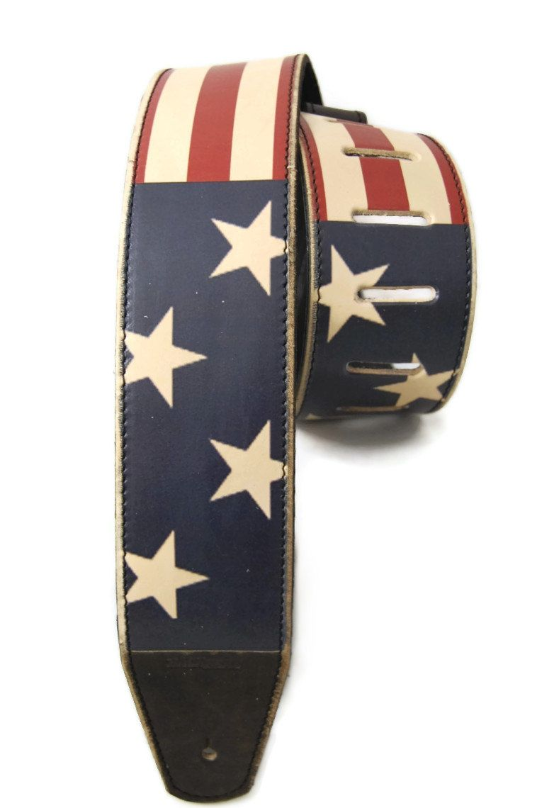 guitar strap usa flag vintage styled leather by backbeatleather random leather guitar straps. Black Bedroom Furniture Sets. Home Design Ideas