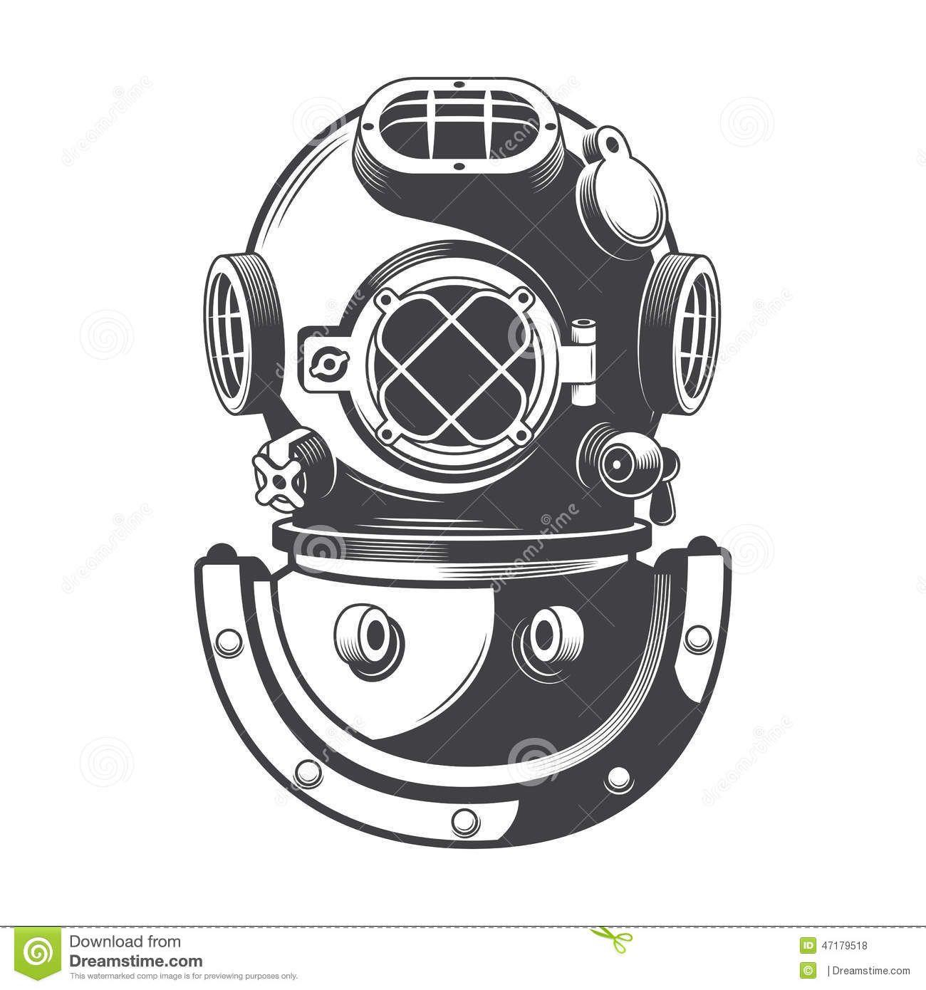 Vintage Nautical Diving Helmet Vector Diving Helmet Scuba Tattoo Helmet Drawing