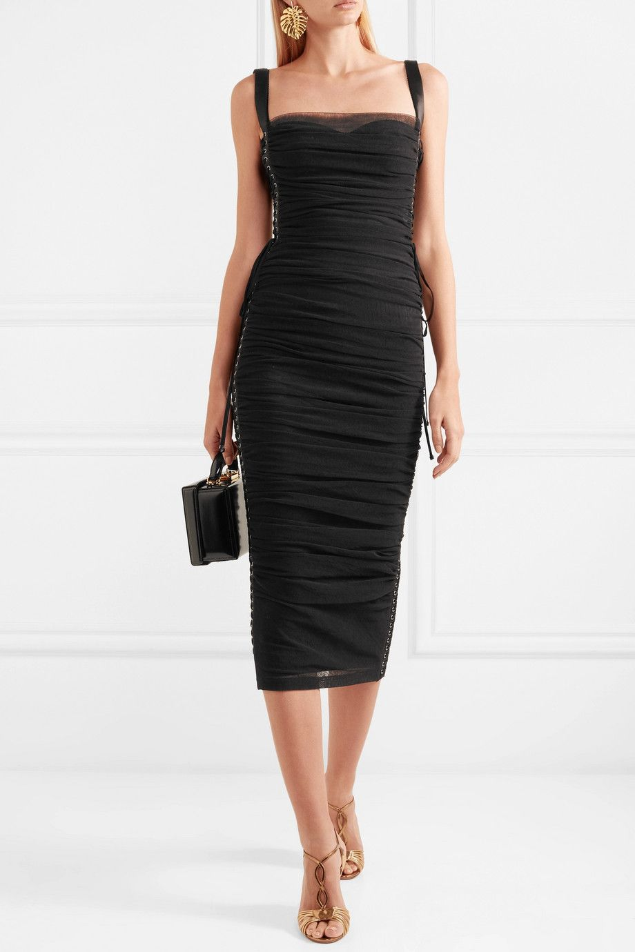Lace-up Ruched Cotton-blend Tulle And Silk-satin Midi Dress - Black Dolce & Gabbana jwmgW