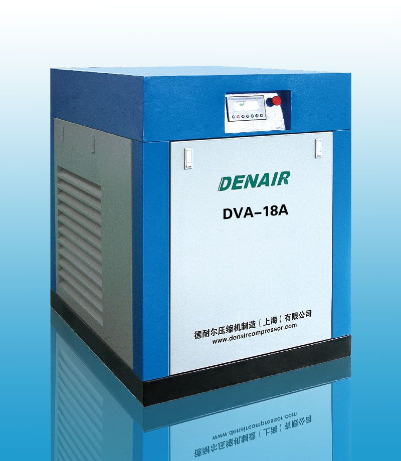 DENAIR Standard Type Variable Frequency Oil Injected Screw Air Compressor Technical Parameters Model: DVA-18 Working Pressure (MPa): 0.85 Air Delivery (m3/min): 0.87-3.2 Voltage and IP Grade: 380V IP54 Noise(DB): 70±3 Outlet Pipe Diameter (inch): G1'' Starting Method: Belt Dimension (mm) L: 1000, W: 900, H: 1150 Weight (kg): 550