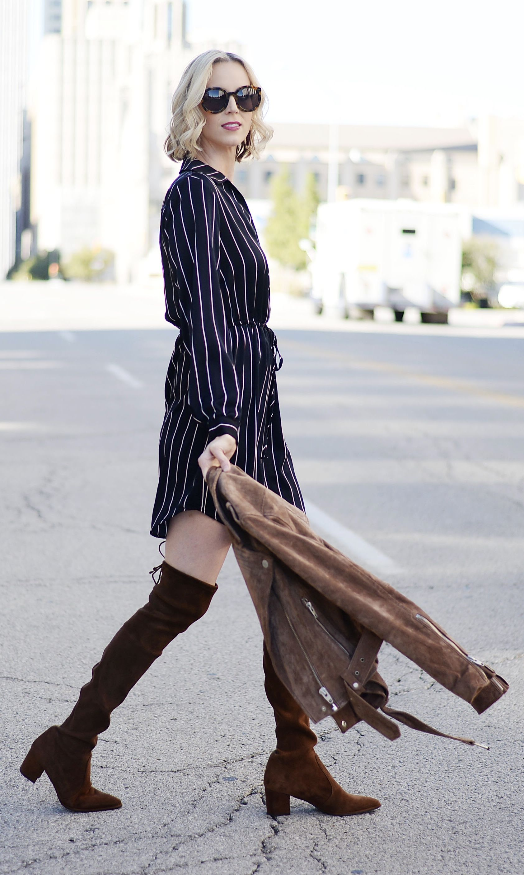 47bc12d0673d Striped shirt dress wear with everything for under $50! Cinched waist  creates flattering lines. Comes in multiple colors. #shirtdress #pinstripes  #otkboots ...