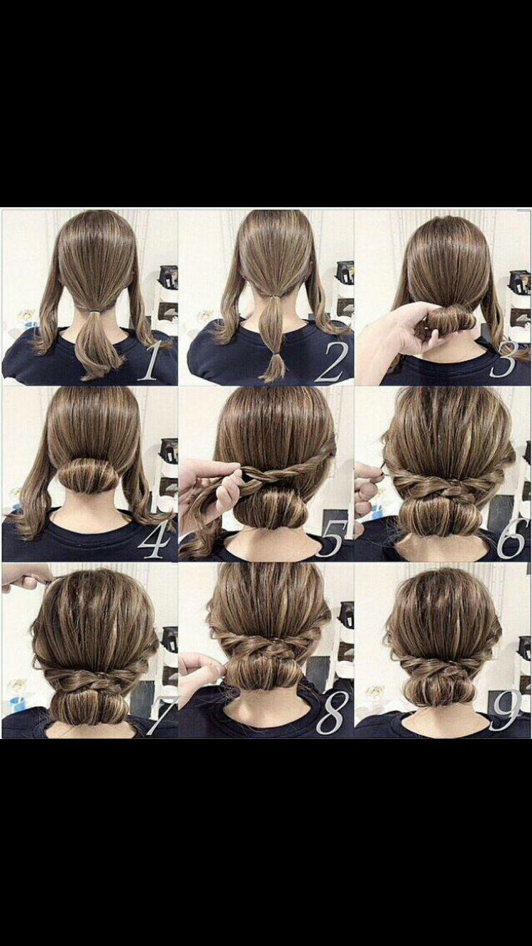 Easy Updo For Medium Length Hair Long Hair Styles Hair Styles Medium Hair Styles