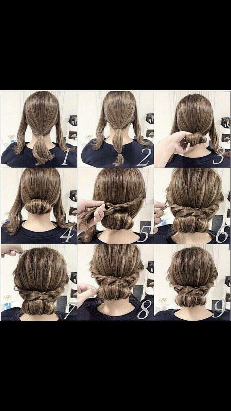 Easy Updo For Medium Length Hair Long Hair Styles Hair Styles Medium Hair Styles