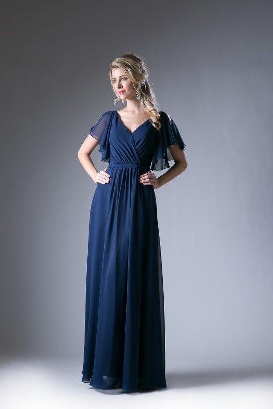 605a7795588 Serendipity Navy Flutter Sleeve Bridesmaids Dress