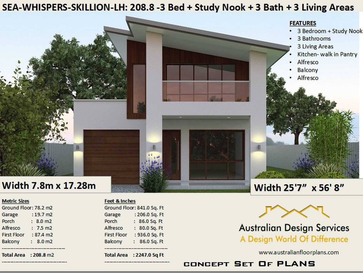 Narrow Skillion Roof House Plans Rh 208 M2 2247 Sq Feet Etsy 2 Storey House Design House Plans 2 Storey Skillion Roof