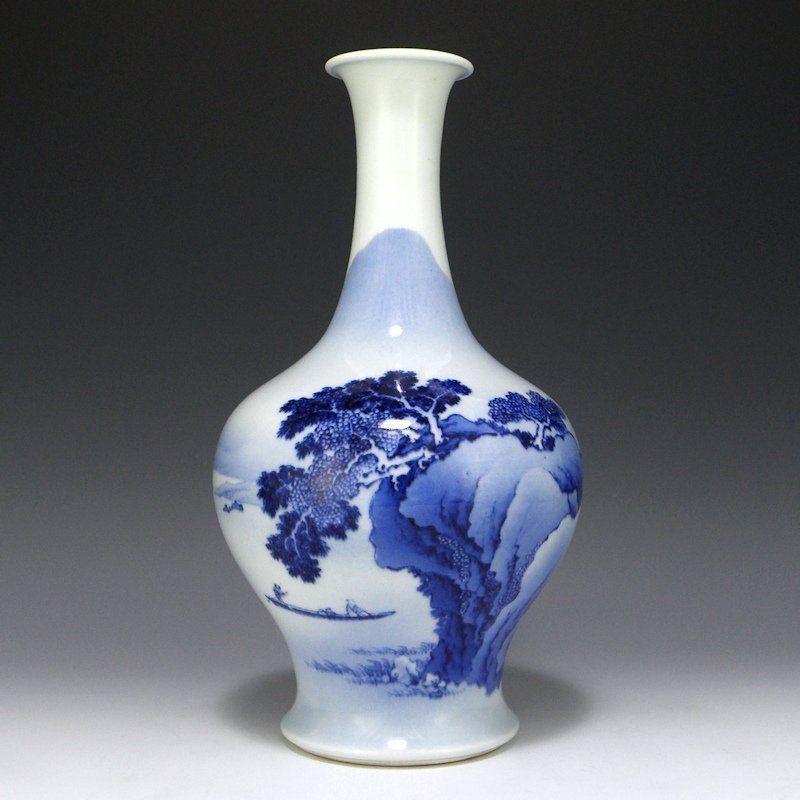 Makuzu Kozan II (Hanzan) Blue and White Landscape Vase