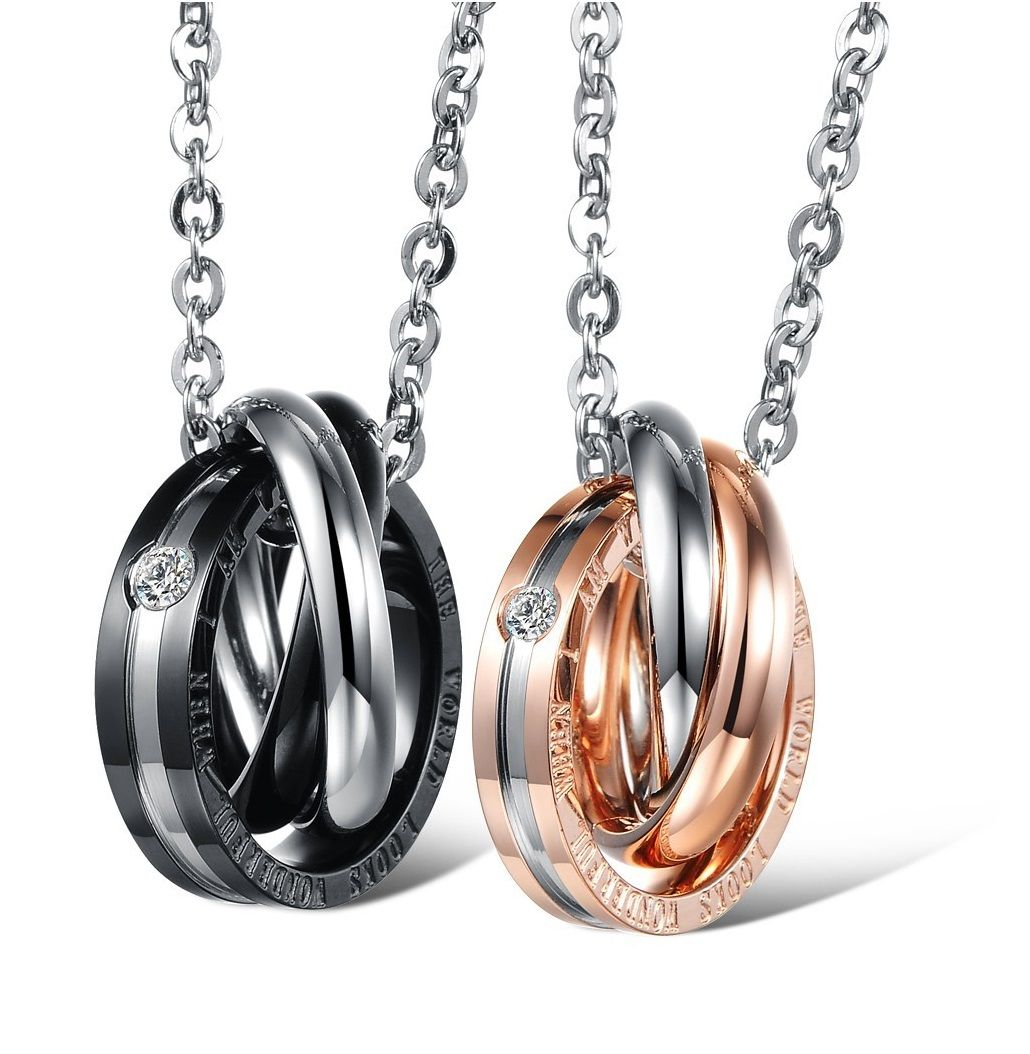 silver interlocking image pendant ring necklaces trace circle avanti necklace triple chain and